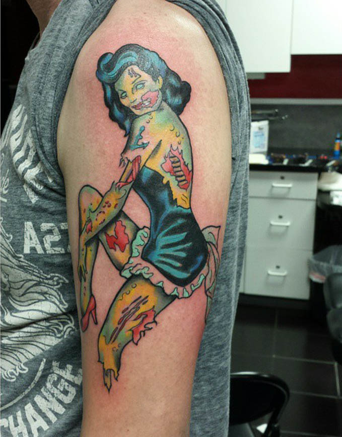 zombie pin up girl tattoo