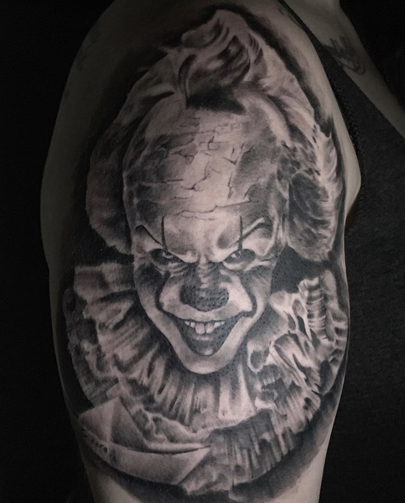 "Black and Grey ""it"" tattoo"