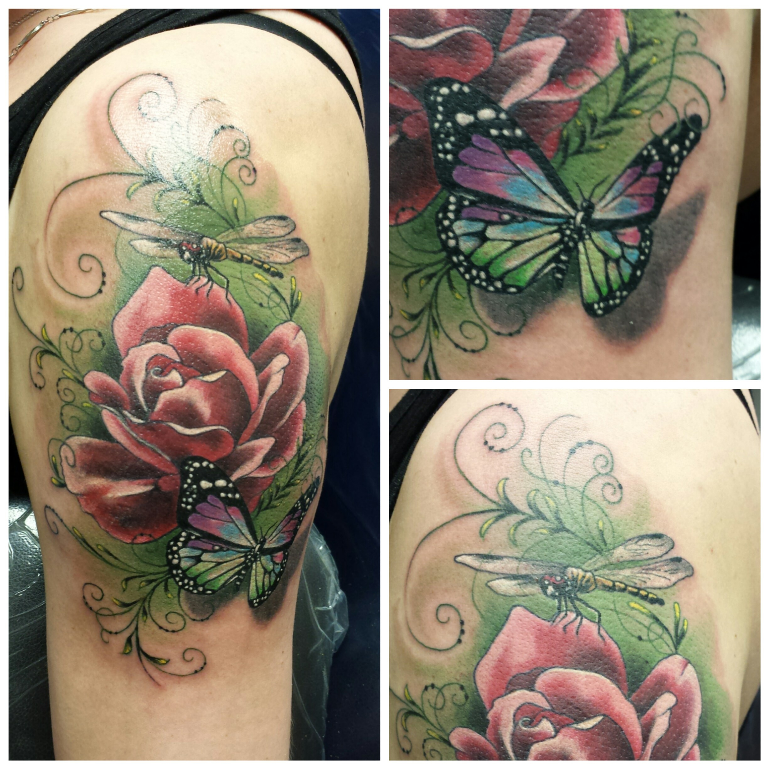 rose butterfly and dragonfly tattoo