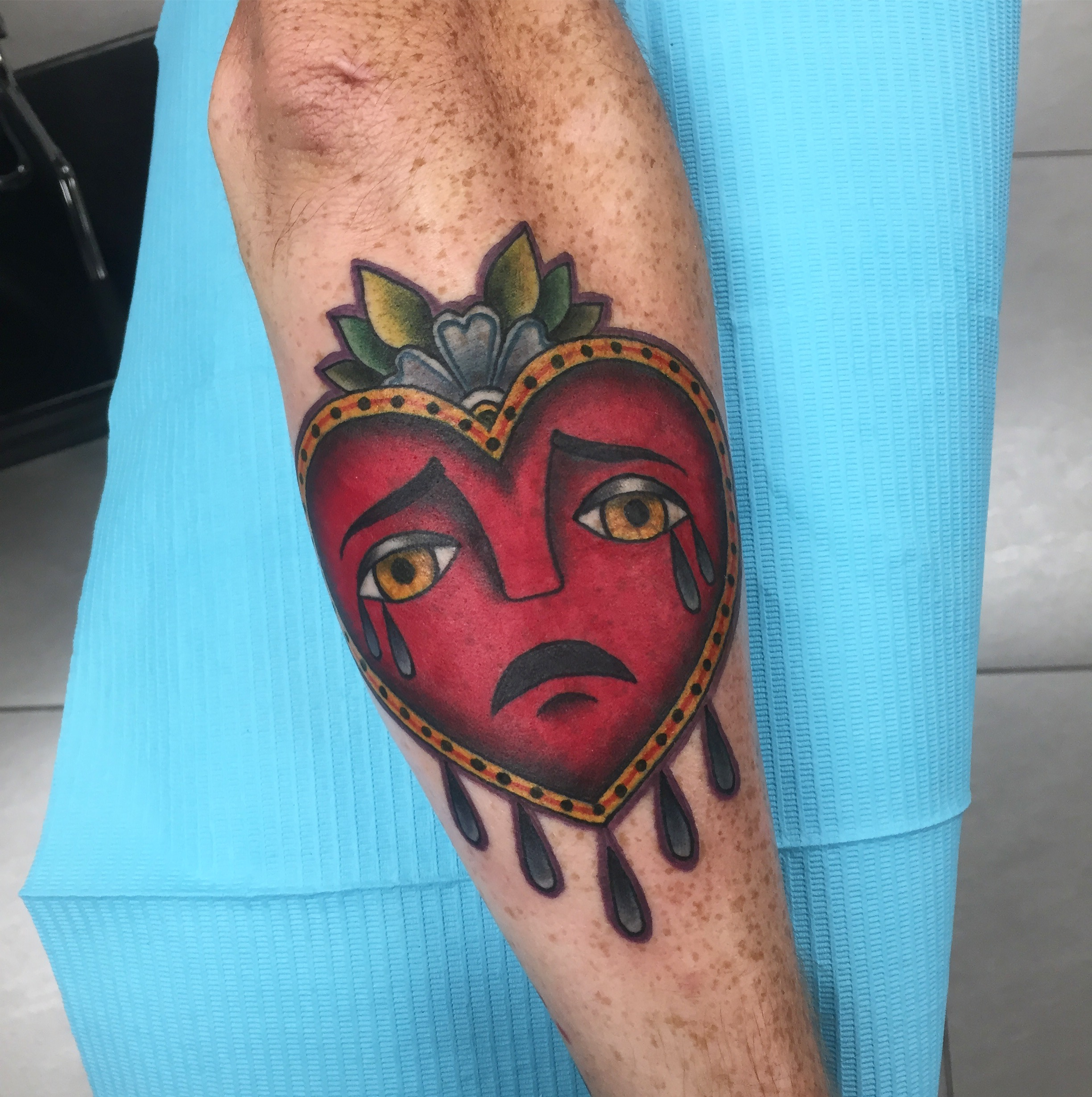 crying heart tattoo
