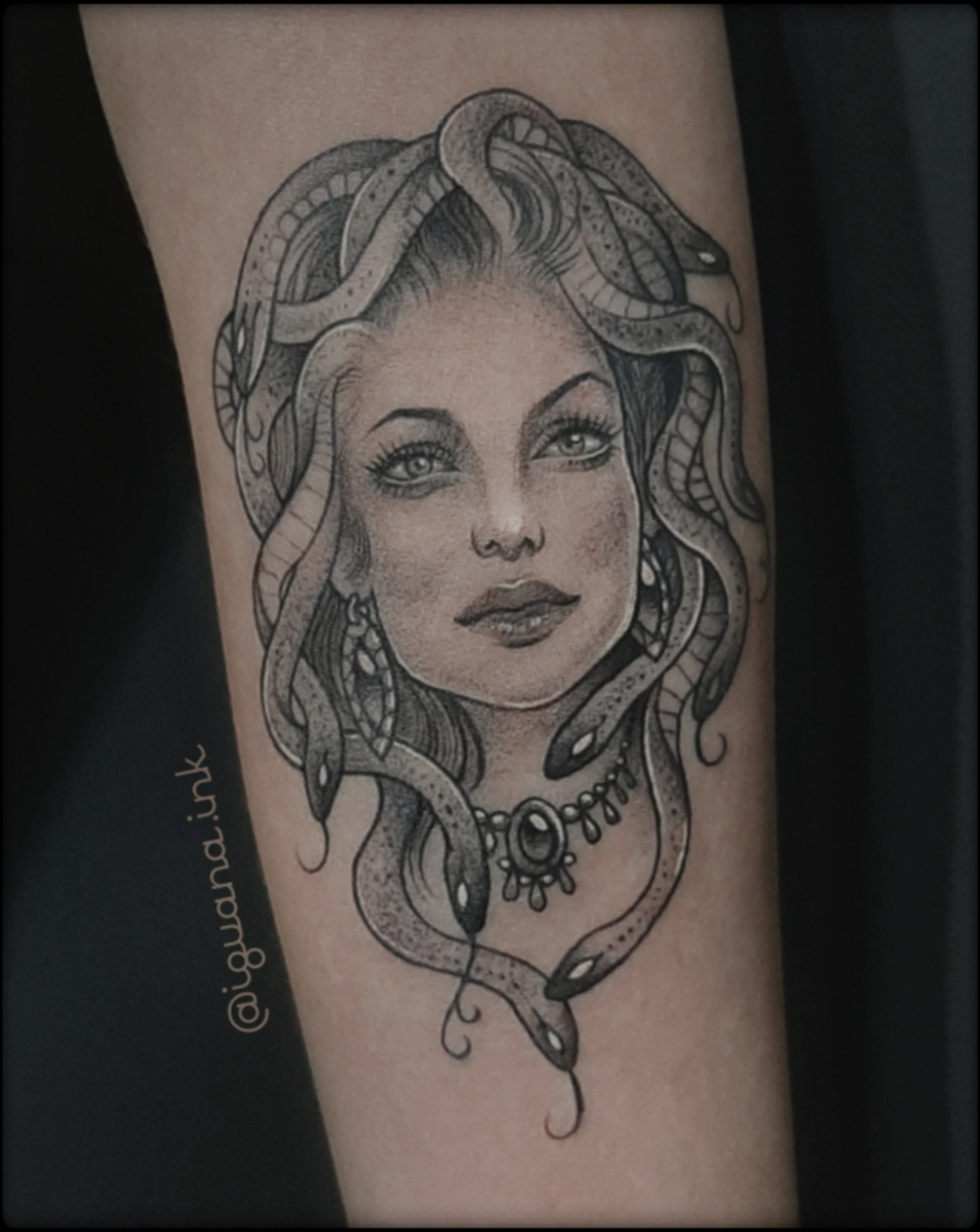 medusa tattoo black and grey