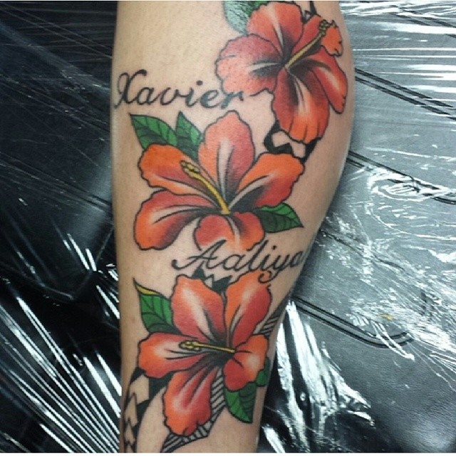 flowers and names tattoo