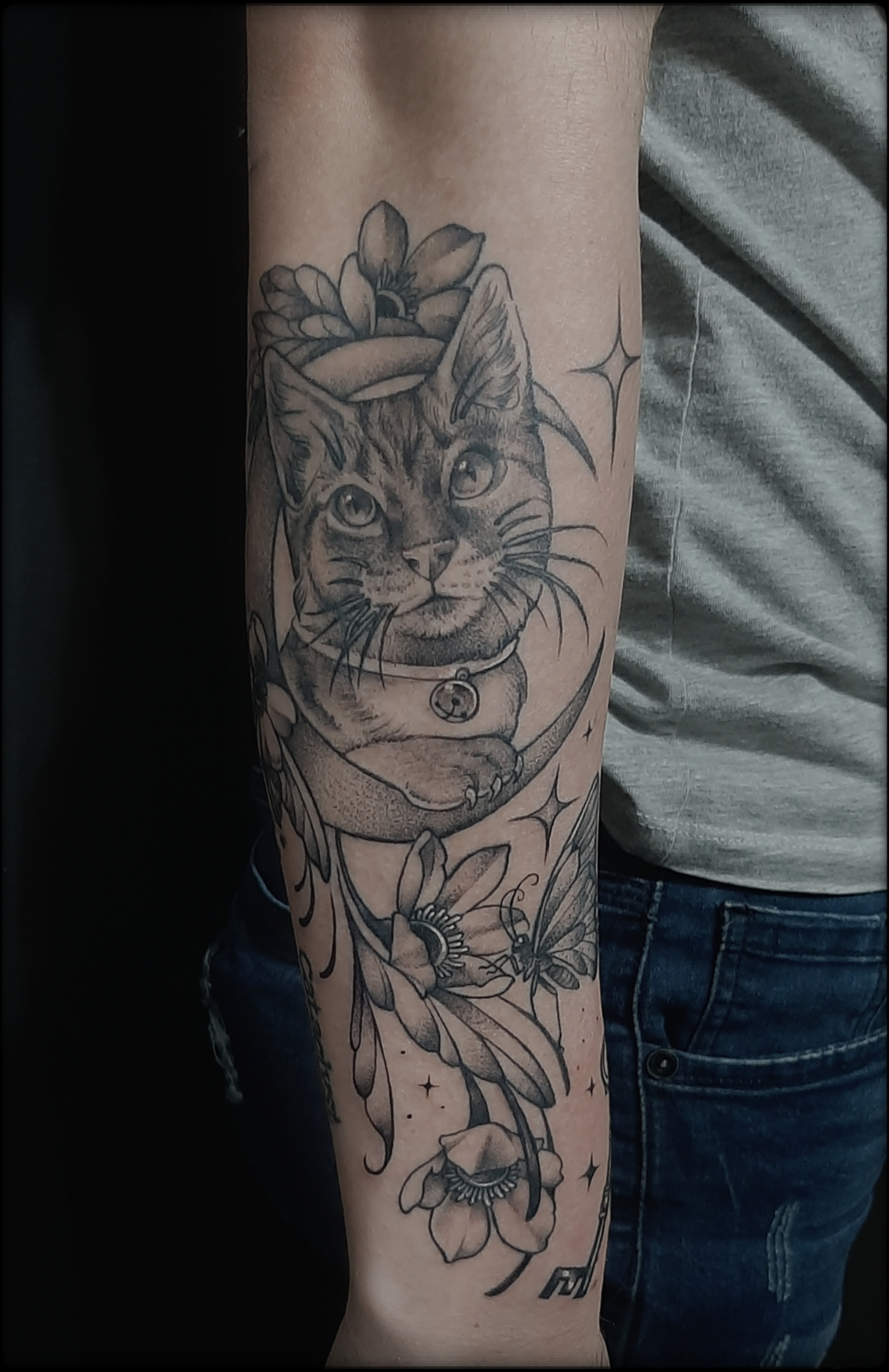 cat tattoo black and grey