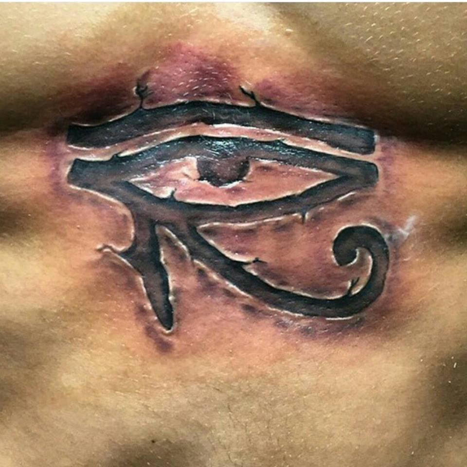 custom eye of Ra tattoo