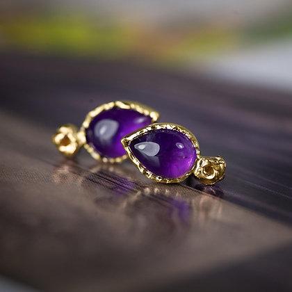 Gold Amethyst Lichen Earrings