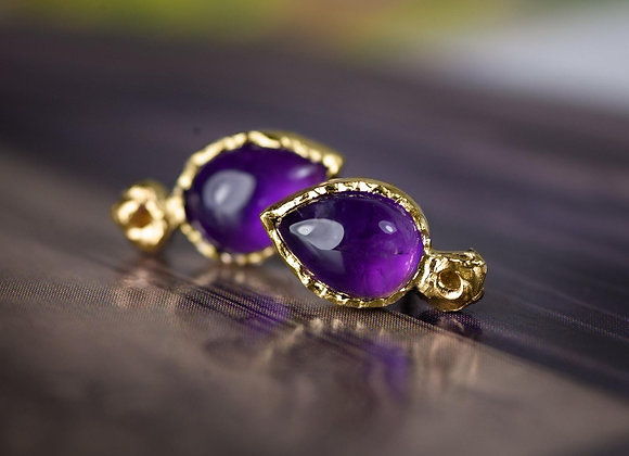 Gold Amethyst Lichen Earrings