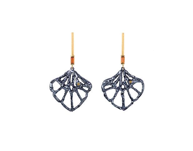 Gold and diamond organic earrings, Blue iris, 18ct gold, blue rhodium silver, yellow diamond, citrine, agatalondon.com
