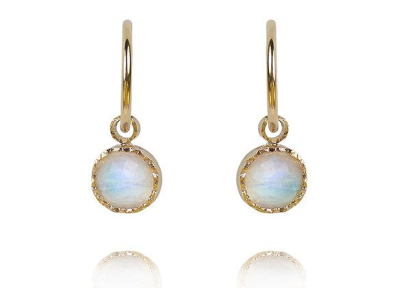 Moonstone and Gold huggie hoop earrings