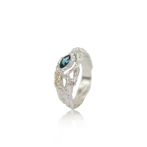 Teal Tourmaline Seaweed Ring