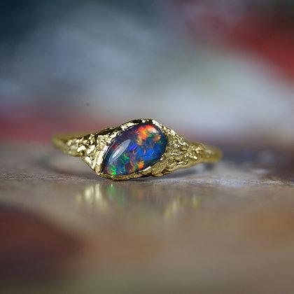 Twinkle Black Opal Gold Ring