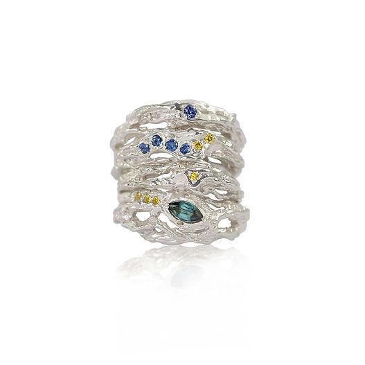 Sapphire,tourmaline,yellow diamond gold ring,stacking rings,wedding ring.jpg