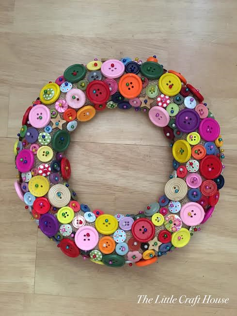 Finished Handmade Button Wreath