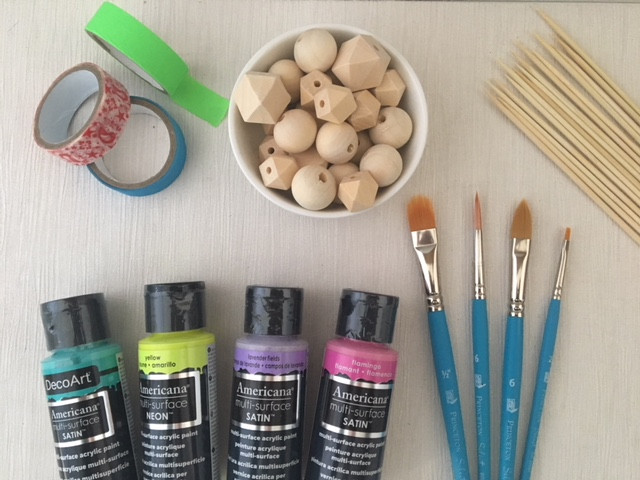 Painting wood beads - the supplies you need.