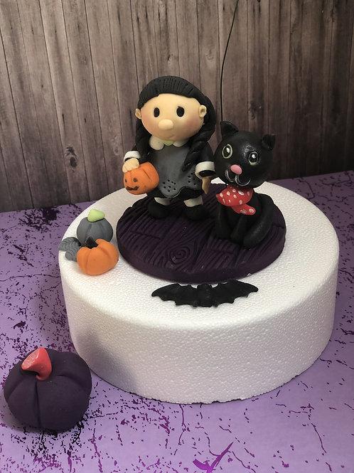Zuckerfigur Halloween Tortendeko Hexe Katze Grusel Gespenster Kürbis Fledermaus