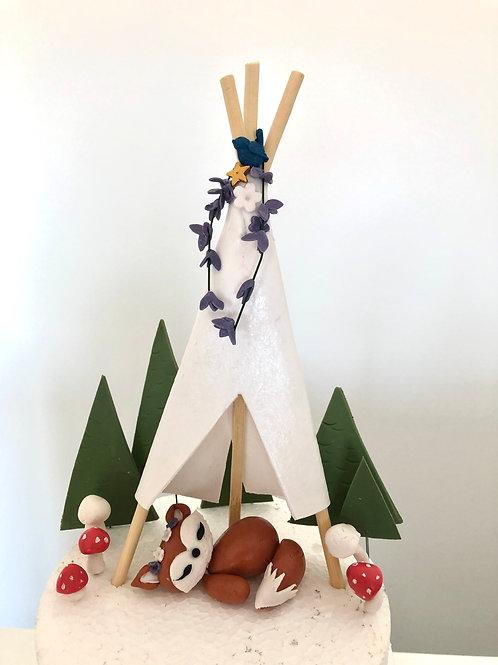 Süsse handgemachter Fuchs Zelt Kuchentopper