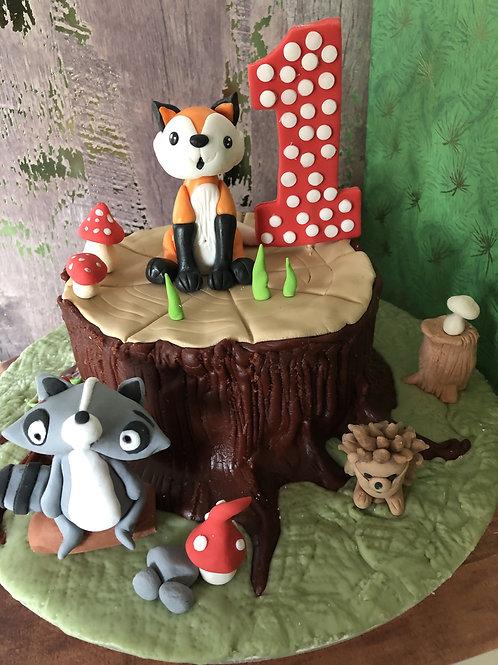 Waldtortendekoration Fuchs und Waschbär