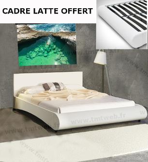 Lit design blanc 180/200+sommier OFFERT
