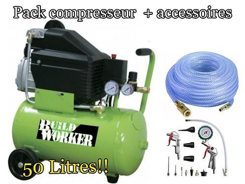 Pack compresseur 50 litres+accessoires complet