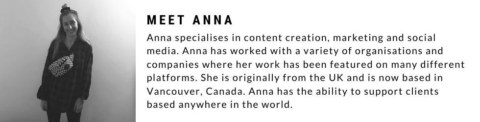 About Anna and her services as a freelance content creator