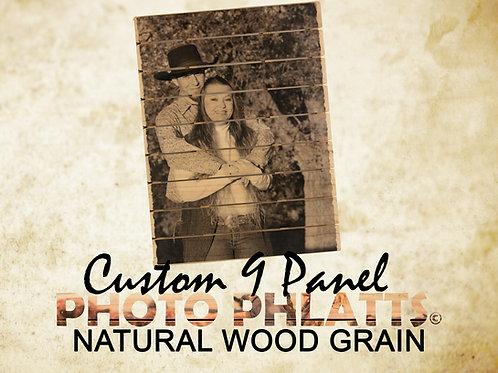 9 Panel Photo Phlatt, Natural Wood, Photo on Wood