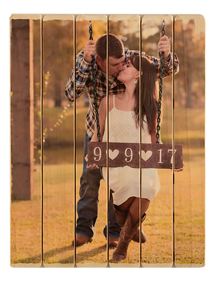 6 panel phlatt, engagement photo on wood, picture pallet, wood photo, wooden guestbook, wedding guestbook, guests sign