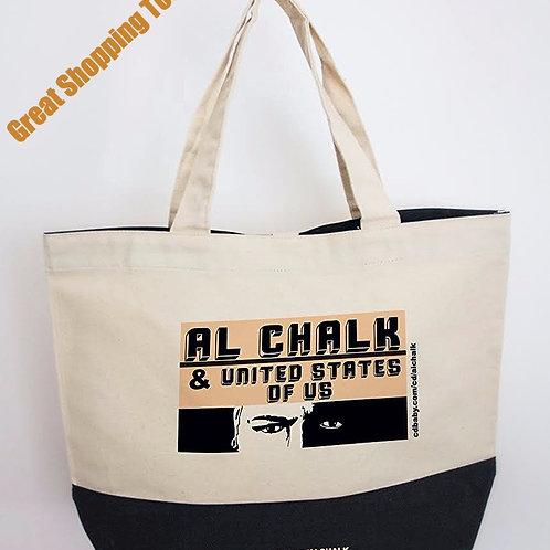 Al's custom cuban font tote, off-white/black bottom panel