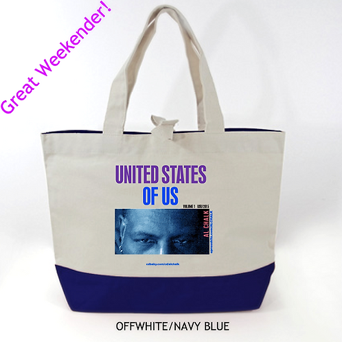 Al's custom Retro Design Tote off white/blue bottom panel