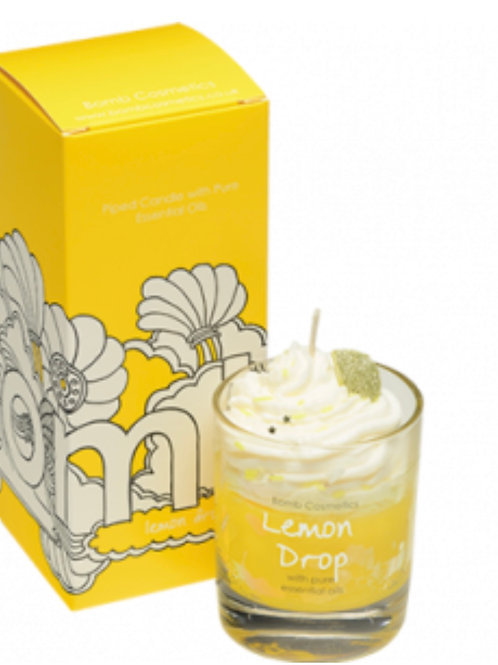 Lemon Drop piped Glass Candle