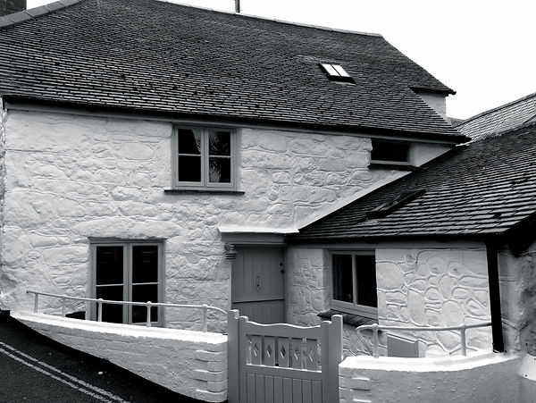 Mill House Exterior Black and White