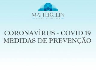 Prevenção do coronavírus - COVID 19