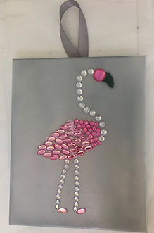 Painted background glass and beaded Pink