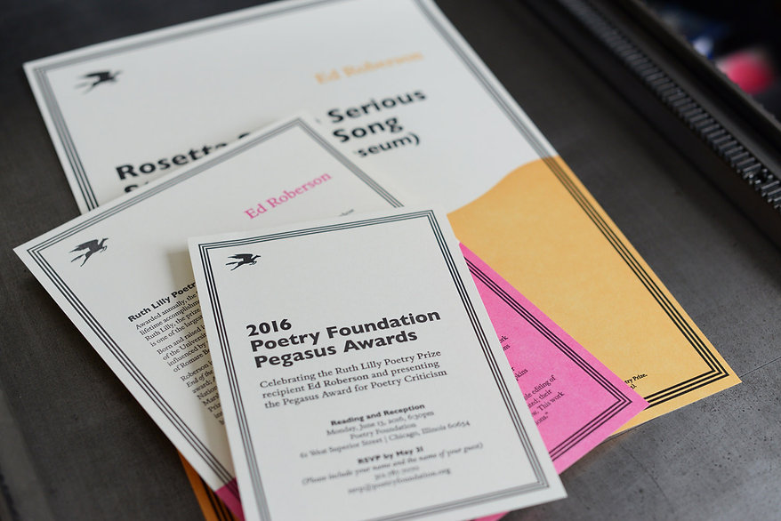 Poetry Foundation letter press printed Pegasus Awards