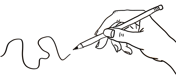 Illustration of a hand holding a pencil and drawing a sliggly line