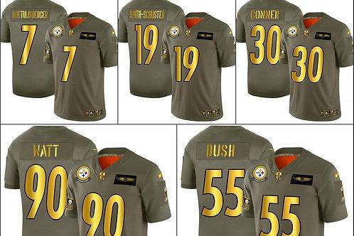 Pittsburgh Steelers JuJu Smith-Schuster T.J. Watt Devin Bush NFL Olive/Gold