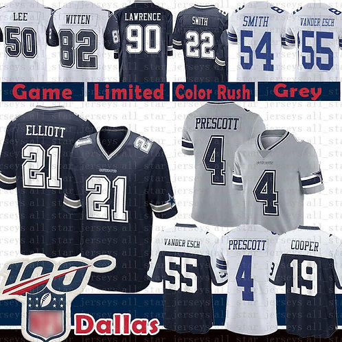 Dalla 21 Ezekiel Elliott Cowboy Jerseys 4 Dak Prescott 55 Leighton Vander Esch 1