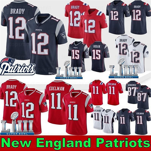 New Patriot 12 Tom Brady Jerseys 87 Rob Gronkowski 11 Julian Edelman 26 Sony Mic
