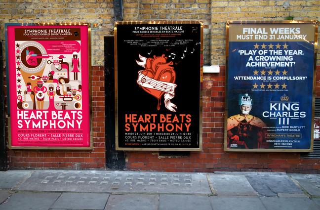 Création d'affiche de théâtre.  Heart beats symphony