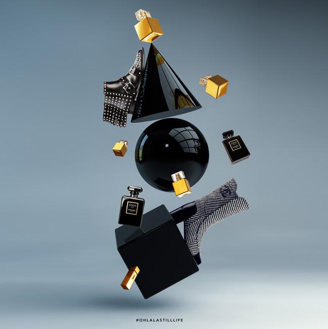 Création de visuel fashion pour des accessoires de mode (parfums, chaussures).