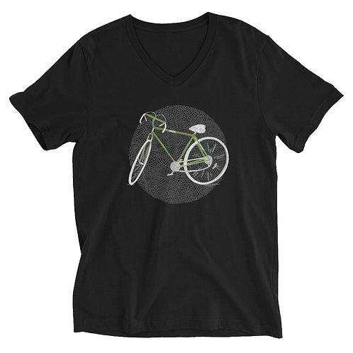 Green Bike - Unisex Short Sleeve V-Neck T-Shirt