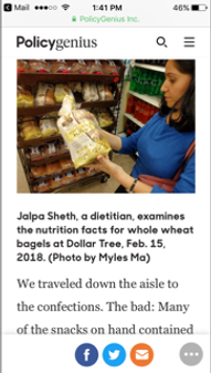 Intervied by finance magazine - Policygenius.com - to share nutritional tips while shopping grocery at a dollar store - 2/15/18