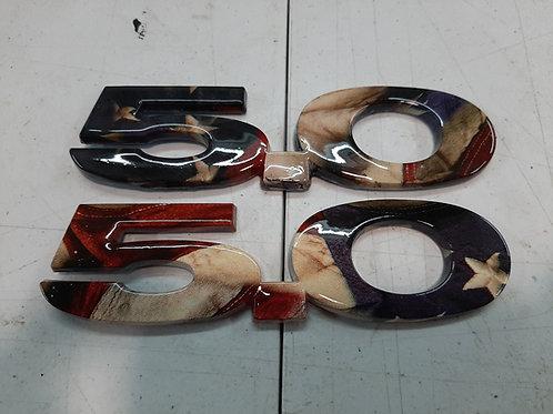 5.0 emblem 15-21 Mustang Rustic Flag 2 set.