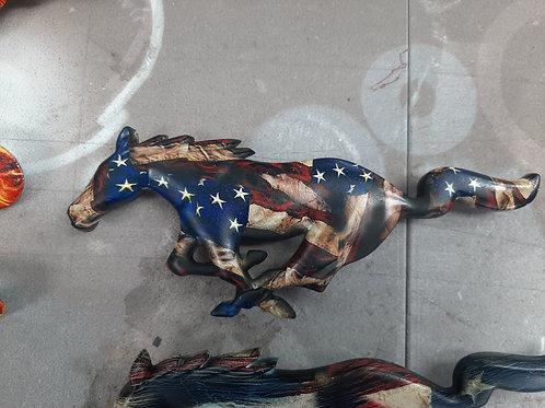 05-09 Mustang Pony Grille Rustic Flag 2 Emblem