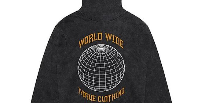 """IVOQUÉ -  Hoodie Washed Grey / Orange """"WRLD"""""""