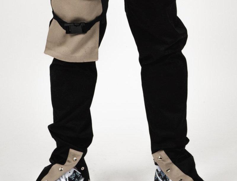 BOMBER CLOTHING - Button Pants Black/Beige