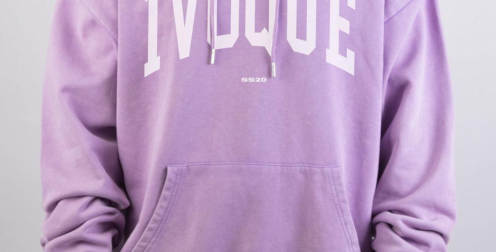 IVOQUÉ - Logo Hoodie Purple Washed White