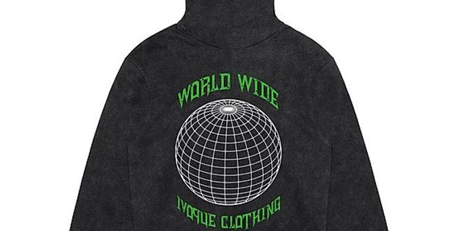 """IVOQUÉ - Hoodie Washed Grey / Green """"WRLD"""""""
