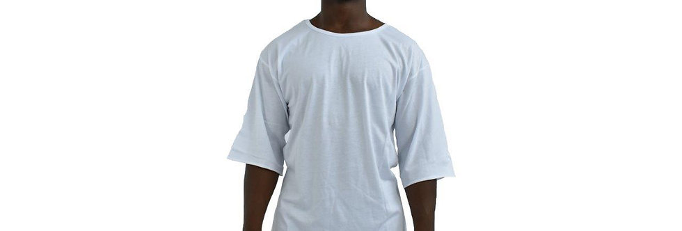 12.PARISA. - Deep Shoulder 3/4 Shirt White
