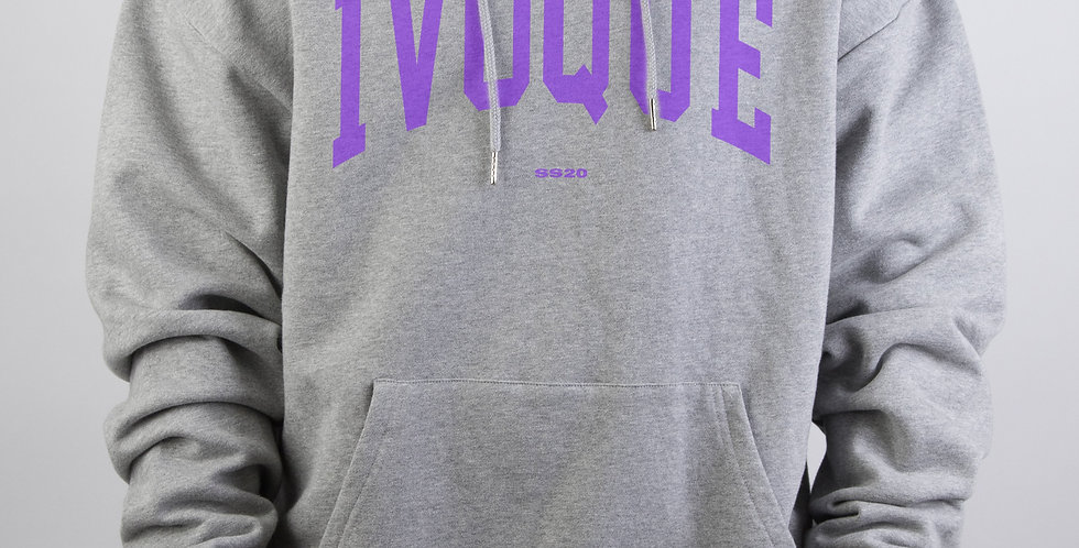 IVOQUÉ - Logo Hoodie Light Grey Purple