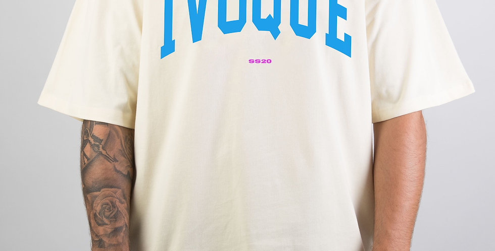 IVOQUÉ - Logo Tee Cream Blue
