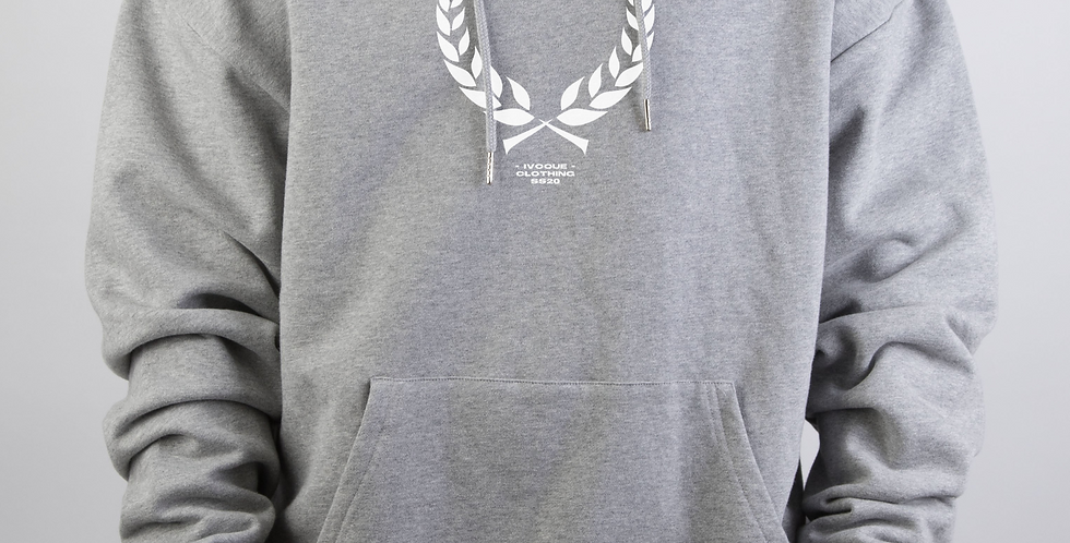 IVOQUÉ - Logo Hoodie Light Grey White